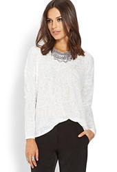 Forever 21 Crochet Lace Panel Sweater Ivory