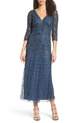 Pisarro Nights Women's Beaded Mesh Dress Blue