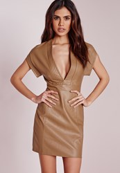 Missguided Faux Leather Bodycon Dress Tan Brown