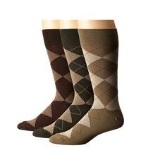 Polo Ralph Lauren 3 Pack Classic Argyle Cotton Blend With Logo Knit In On Sole Olive Assorted Olive Loden Dark Brown Men's Crew Cut Socks Shoes