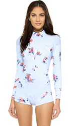 Cynthia Rowley Floral Wetsuit Light Blue Floral