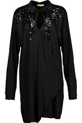 Versace Jeans Wrap Effect Embellished Stretch Satin Mini Dress Black