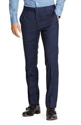 Men's Bonobos Flat Front Solid Stretch Wool Trousers Bright Navy