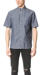 Rag And Bone Standard Issue Short Sleeve Standard Issue Chambray Shirt Indigo