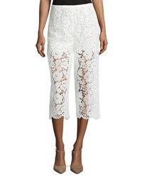 Valentino Cropped Lace Pants Ivory
