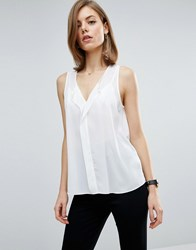 Asos Sleeveless Blouse With V Front Ivory White