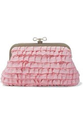 Red V Lace Trimmed Ruffled Faille Clutch Baby Pink