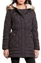 Lauren Ralph Lauren Women's Quilted Jacket With Faux Fur Trim Black
