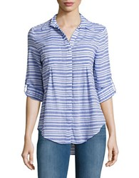Lord And Taylor Petite Nancy Long Sleeve Striped Shirt Green
