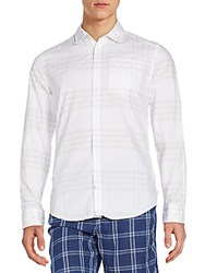 Ck Calvin Klein Regular Fit Tonal Plaid Cotton Sportshirt White