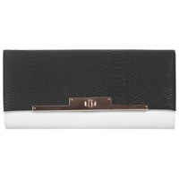 Miss Selfridge Croc Lock Clutch Bag Black