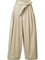 Tome Cropped Drawstring Flared Trousers Nude Neutrals