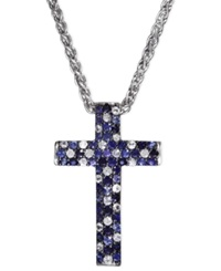Effy Collection Saph Splash By Effy Shades Of Sapphire Cross Pendant 2 3 4 Ct. T.W. In Sterling Silver