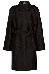 Stella Mccartney Gaelle Wool Blend Jacquard Trench Coat Black