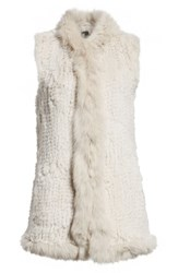 Love Token Genuine Rabbit Fur Vest With Genuine Fox Fur Trim Smoke