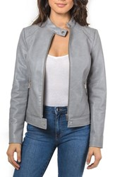 Bagatelle Faux Leather Moto Jacket Grey