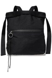 Rebecca Minkoff Woman Suede Trimmed Twill Backpack Black