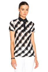 Stella Mccartney Transparent Check Top In Blue Checkered And Plaid