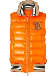 Burberry Icon Stripe Detail Down Filled Puffer Gilet Orange