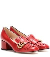 Gucci Leather Loafer Pumps Red
