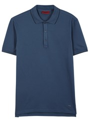 Hugo Delorian Blue Pique Cotton Polo Shirt Navy