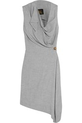 Vivienne Westwood Duo Draped Crepe Dress Light Gray