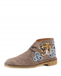 Gucci New Moreau Suede Boot With Appliqu And 233S Light Brown
