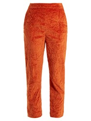 Isa Arfen Slim Leg Crushed Velvet Cotton Blend Trousers Dark Orange