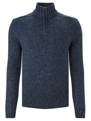 John Lewis Frosty Zip Neck Jumper Denim