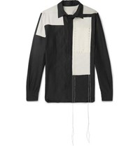 Rick Owens Colour Block Studded Cotton And Silk Blend Shirt Black