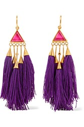 Katerina Makriyianni Tasseled Gold Tone Crystal Earrings Purple