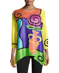 Berek Rose Print 3 4 Sleeve Tunic Yellow Multi
