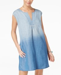 As U Wish Juniors' Ombre Denim Shift Dress Blue