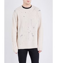 Maison Martin Margiela Distressed Wool Jumper Off White