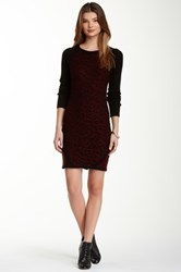 Romeo And Juliet Couture Colorblock Cheetah Print Sweater Dress Red
