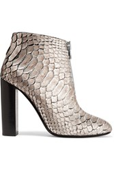 Tom Ford Metallic Python Ankle Boots Silver