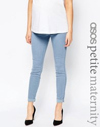 Asos Maternity Petite Rivington Denim Jeggings In Candy Light Blue With Turn Ups Light Wash