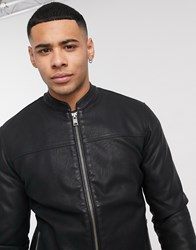Solid Faux Leather Jacket In Black