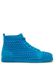 Christian Louboutin Louis Spike Embellished High Top Trainers Blue
