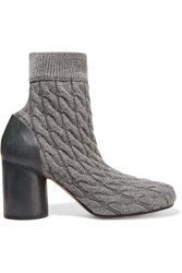 Maison Martin Margiela Cable Knit And Leather Ankle Boots Gray