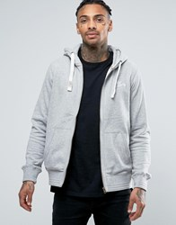 Tokyo Laundry Fleece Lined Zip Through Logo Hoodie Grey