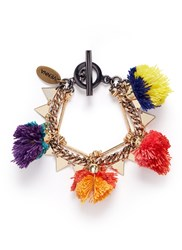 Venna Pompom Mixed Chain Bracelet Multi Colour
