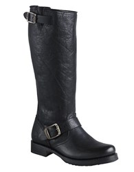 Frye Veronica Slouch Leather Boots Black Leather