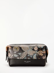 Ted Baker Clubb Bird Print Leather Wash Bag Black