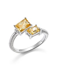 Judith Ripka Sterling Silver Lafayette Bypass Ring With Canary Crystal Yellow Silver