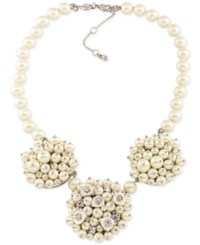 Carolee Silver Tone Imitation Pearl And Crystal Cluster Necklace