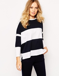 Whistles Striped Oversized Boxy T Shirt Navyandwhite