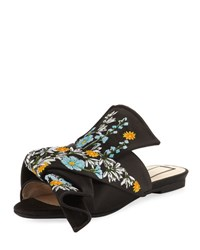 N 21 Embroidered Satin Bow Mule Flat Black