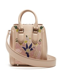 Alexander Mcqueen Heroine Embroidered Small Leather Cross Body Bag Nude Multi