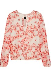 Giambattista Valli Floral Print Silk Chiffon Top Cream